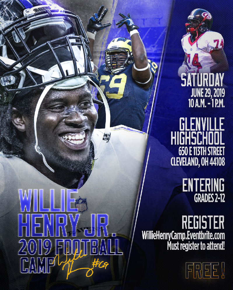 half off 89e18 fb692 Willie Henry Jr. 2019 Free Football Camp - Cleveland ...